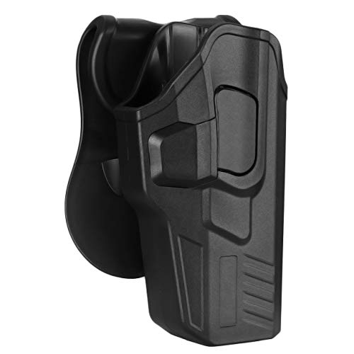 G17 Holster, Open Belt Carry Holster Fits Glock 17(Gen 1 2 3 4 5), Glock 31(Gen 1 2 3 4) - 360° Adjustable Paddle Gun Holster, Tactical OWB Holster, Quick Release Button - Right Handed