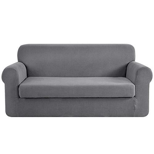 CHUN YI 2-Stück Sofa Überwürfe Jacquard sofabezug 3-sitzer Sofa überzug Elastische Stretch Spandex Couchbezug Sofahusse Sofa Abdeckung (3-Sitzer, Hellgrau)