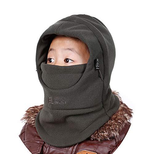 Azarxis Pasamontañas de Niños Sombrero Polar de Esquí de Invierno Casquillo Ajustable Cuello Doble Calentador (Verde Militar)