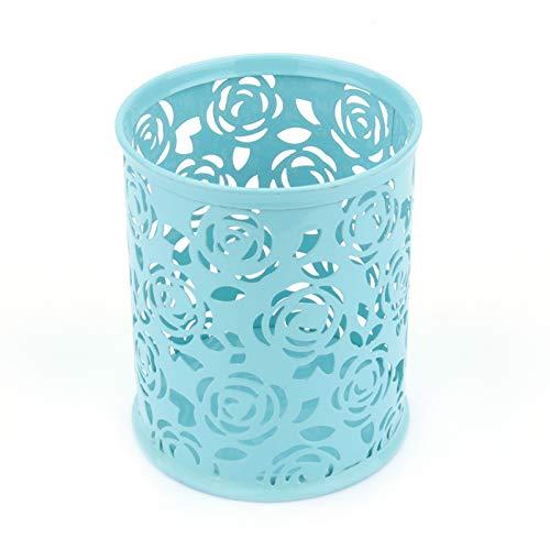 Haofy Bolígrafo, Soporte para bolígrafo para Escritorio, bolígrafo de Metal con diseño de Flor de Rosa Hueca, Organizador de contenedores de Escritorio (1 Pieza, Azul)