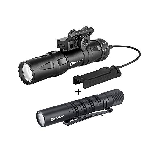 OLIGHT Odin Mini 1250 Lumens Ultra Compact Rechargeable Mlok Mount Tactical Flashlight, Bundled I3T EOS 180 Lumens Dual-Output Slim EDC Flashlight for Camping and Hiking