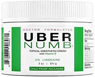 Uber Numb 5% Lidocaine Topical Numbing Cream, 2 Ounce, Advanced Formula Rapid Absorption Non-Oily