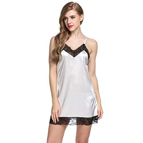 Erotische Teddys & Bodys für Frauen Sexy Dessous Nachtwäsche Nachthemd in Übergröße Damen Feines Satin-Nachthemd mit Wellenschliff Sexy Unterwäsche Chemises-White_Xs