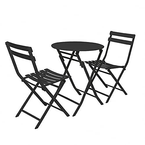 BIANGEY Conjunto de Muebles de jardín Plegable de Hierro, Juego de bistró 3 Piezas, 2 sillas y 1 Mesa, Usado para Jardines, terrazas, Bares, Villas, Playas, Piscina,Black Circle