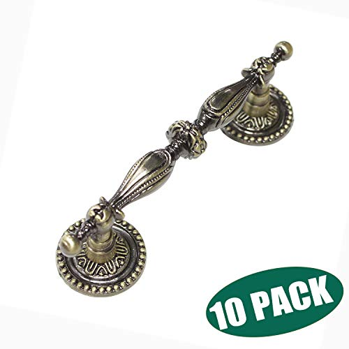 Probrico Vintage Cabinet Pulls Wardrobe Door Handles in Ancient Bronze Finish,Classic Style Drawer Hardware Pulls,10 Pack