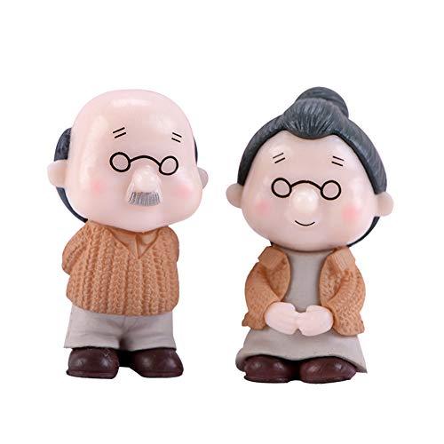 pengyu- - 2 Stück alte Paare Großeltern Modell-Figur Mini-Landschaft Bonsai-Gartendeko, alte Paar-Figur, Hof, Gartendekoration