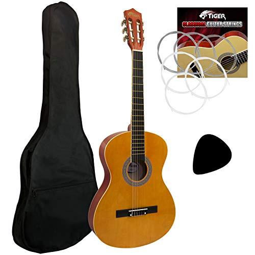Tiger - Guitarra de concierto (tamaño 4/4, incluye accesorios), color natural