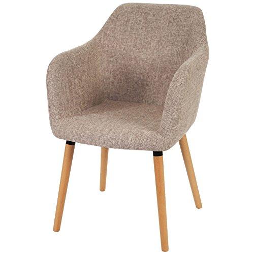 Mendler Chaise de séjour/Salle à Manger Malmö T381 / Style rétro des années 50 / Tissu, crème/Gris
