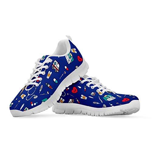 Agroupdream Damen Laufschuhe Atmungsaktiv Turnschuhe Schnürer Sportschuhe Sneaker für Damen Jugendlich Mädchen Outdoor-Fitnessschuhe Krankenpfleger Nurse Blau Größe 42