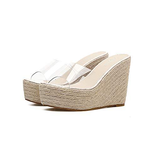 YFYBF Moda Sencilla en Tacones Altos talón cáñamo Cuerda de Paja Zapatos de Plataforma de la cuña de Las Sandalias Transparentes de PVC,Blanco,7