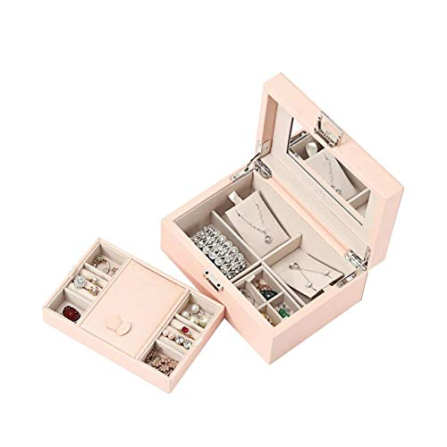 Joyero de Madera de Gran Capacidad, Caja de Almacenamiento de Joyas y Caja de Anillos, joyero de Dos Capas y Dos cajones, Caja de Almacenamiento de Pendientes de Anillo, Pendientes