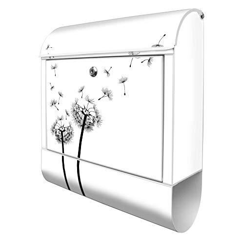 Banjado Design Briefkasten mit Motiv WT Pusteblume 2 | Stahl pulverbeschichtet mit Zeitungsrolle | Größe 39x47x14cm, 2 Schlüssel, A4 Einwurf, inkl. Montagematerial