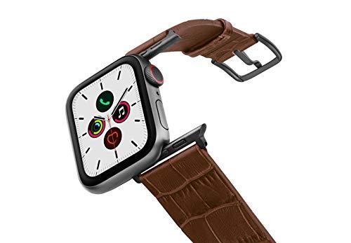 Correa para Apple Watch de piel marrón con estampado de cocodrilo en relieve, 100% fabricada en Italia, 44, aluminio, Space Gray