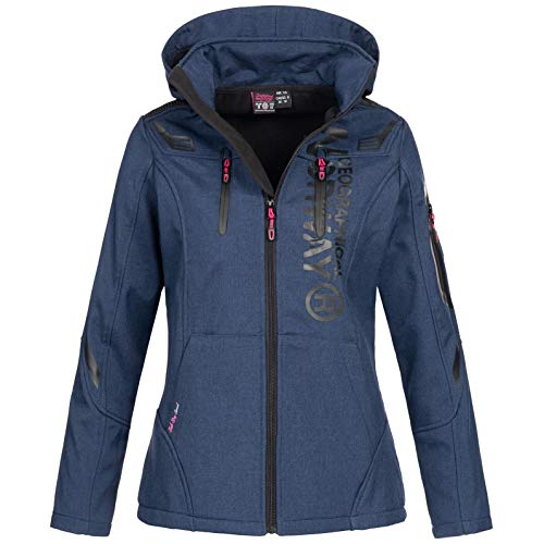 Geographical Norway Damen Softshell-Jacke Truffe mit Kapuze Navy L