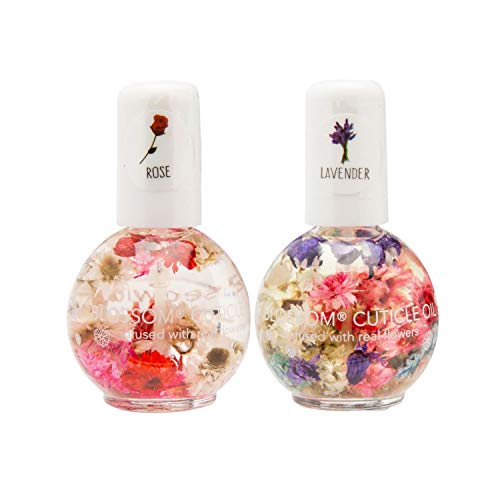 Blossom Scented Cuticle Oil Infused with Real Flowers Twin Pack — Nourishing Essential Oils for Softening, Hydrating and Repairing Nail Cuticles (Lavender & Rose — 2 x 0.42 Fl. Oz.)