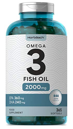 Omega 3 Fish Oil 2000mg | 365 Softgel Capsules | 6 Month Supply! Fatty Acids EPA & DHA | Supports Heart, Brain & Eye Health | Non-GMO, Gluten Free | by Horbaach