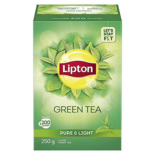Lipton Pure & Light Loose Green Tea Leaves 250 g Pack, All Natural Flavour, Zero Calories - Improves Metabolism & Reduces Waist