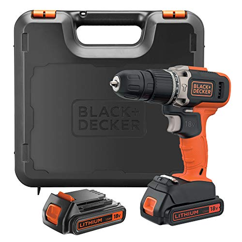 BLACK+DECKER BCD003C2K-QW 18V 21.000 ipm Hammer Drill with 2 Lithium Batteries 1.3Ah and Case