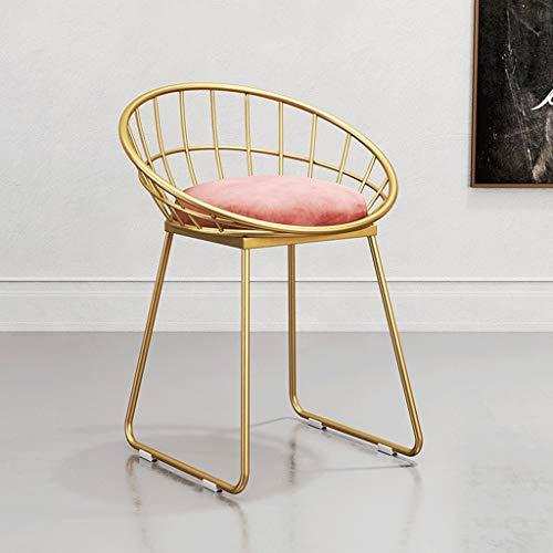 Great St. Hocker Tisch mit stühlen zocker Tisch sitzpolster Esszimmerstuhl Metall Rückenlehne Lounge Chair Makeup Chair Kunstgitter Kaffee Stühle (Farbe : C)