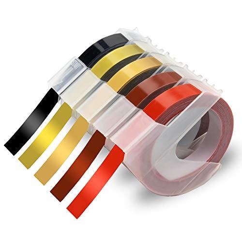 Xemax kompatibel Schriftband Ersatz für Dymo 3D Prägebändern Selbstklebend Bänder für Motex E-303, Dymo Junior Omega 1540, Office-Mate II, Schwarz/Gold/Champagner Gold/Rot/Kastanienrot, 9mm x 3m, 5er