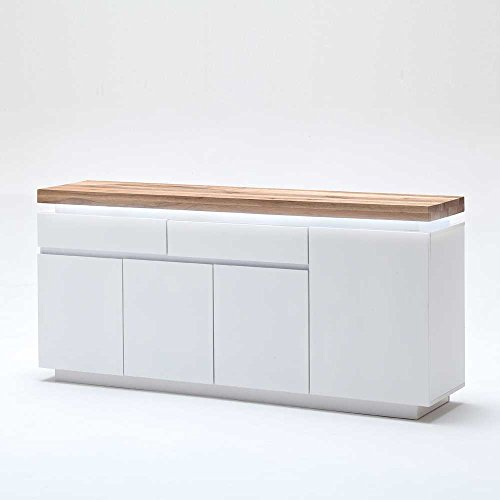 Pharao24 Sideboard mit dimmbarer Beleuchtung Weiß