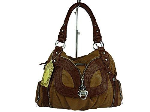 MILANA Handtasche AKW22031, große Alltagstasche mit vielen Fächern und Schultertrageriemen, viele Farben, 40x25x17cm, braun schlamm, L