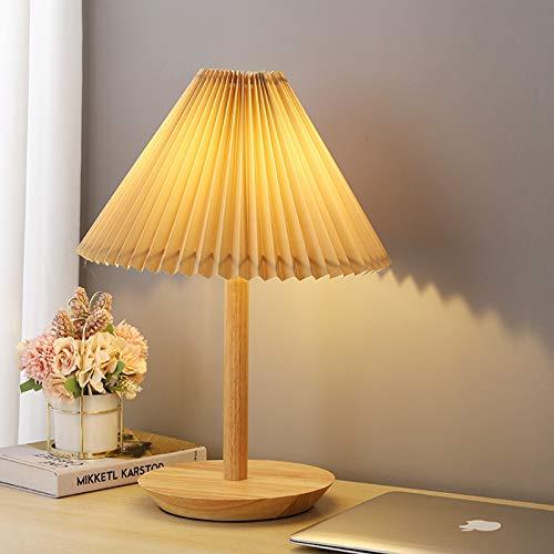 ASMCY Moderno Lámpara de mesa E27 Luz de mesa Base de madera Lámpara de noche, Creativo Plisado PVC Pantalla de lámpara Luz de noche Luz para leer Con Cambiar, Para Cuarto Sala de estar Oficina,A