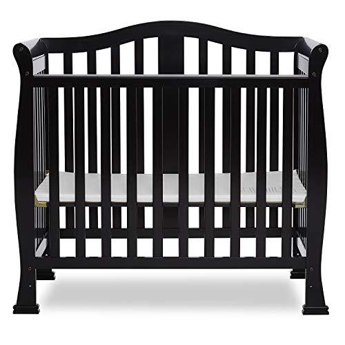 Dream On Me Addison 4 in 1 Convertible Mini Crib, Espresso with 3' Spring Coil Mini/Portable Crib Mattress White/Blue.