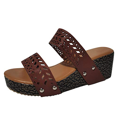 NJGRAE Sandals For Women Flip Flops For Women With Arch Support Wide Women's Summer Slip-On Wedges Hollow Out Beach Open Toe Breathable Sandals Shoes