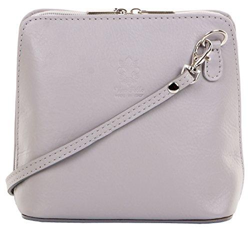 Primo Sacchi ® italienische weiche Leder Hand Klein gemacht/Micro hell graue Kreuz Körper Tasche oder Umhängetasche Handtasche. Enthält eine Marken-Schutztasche.