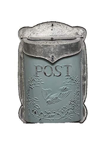 The Nifty Nook I Vintage Style Post Box I Nostalgic Charm Home Decor I Farmhouse Design I 15.9' Height x 11' Wide (blue)
