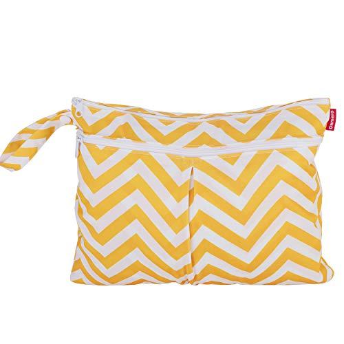 Damai Damero ウェットバック 防水バッグ 2点セット お出かけ 温泉 スポーツ 便利 黄色波