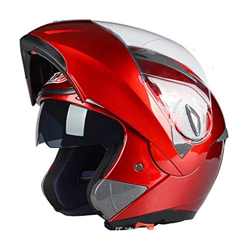 AELN Casco de motocicleta para motocicleta con lente antivaho y lente abierta, certificado por DOTECE, casco de motocicleta de cara completa con protección solar, para hombres y mujeres adultos