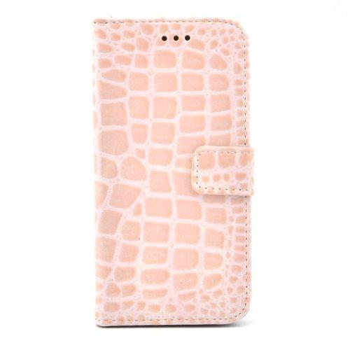 Apexel - Funda de Piel sintética Tipo Libro para HTC One M8 (Tarjetero, Correa), diseño de Piel de cocodrilo, Color Rosa