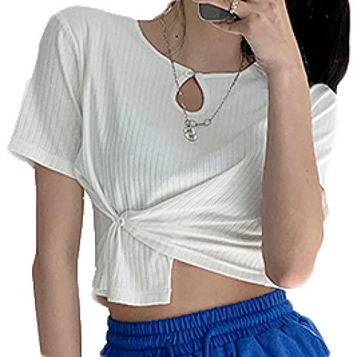 Cuello Redondo Camisetas Crop Mujer Manga Corta Top Corto Mujer con Blanco Camiseta Corta Ombligo Nina S