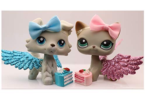 NA USA LPS Collie 363 Grey Blue Eyes Boy LPS Shorthair Cat 391 Grey Rare Figure Dog Puppy with Accessories Kids Collection Gift Set