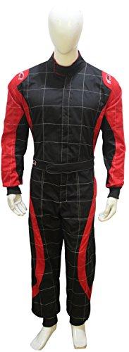 Erwachsene Go Kart Karting Anzug Race Rally passt Poly Baumwolle One Piece Karting Anzug XXL schwarz / rot