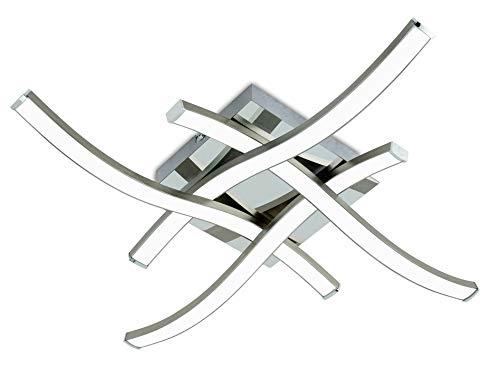 Trango Modern Design 4-flg. geschwungene dimmbare LED Deckenleuchte Deckenlampe TG3132 mit 4x 5 Watt LED Module - 3000K warmweiß - Nickel matt & Chrom Deckenstrahler Strahler
