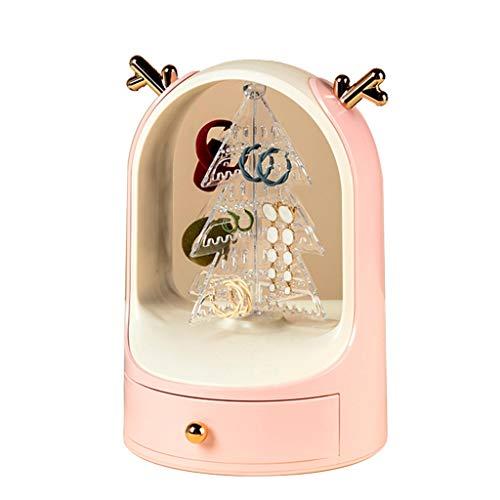 Caja de Almacenamiento de Joyas de Navidad Soporte de exhibición de Pendientes Colgador de Joyas de Collar 176 Agujeros para Almacenamiento (Color : Pink, Size : 18.5 * 27cm)