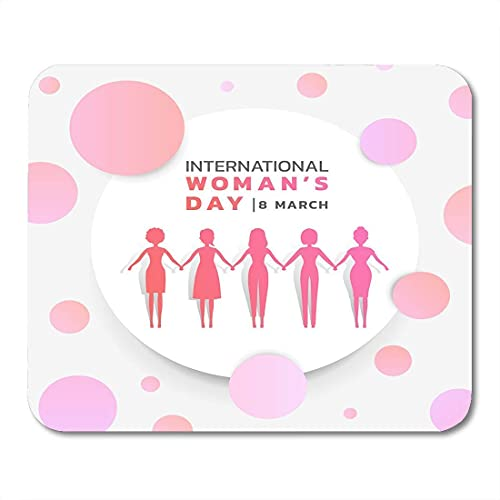 Alfombrillas de ratón para Mujeres día Internacional de la Mujer con Grupo de Mujeres Rosa púrpura tomados de la Mano en círculo Blanco Alfombrilla de ratón para portátiles, Ordenadores de sobremesa,