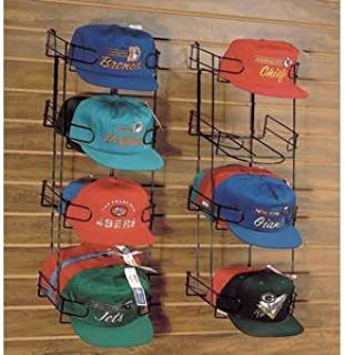 Slatwall Hat Display 4-Tier, Black, Metal