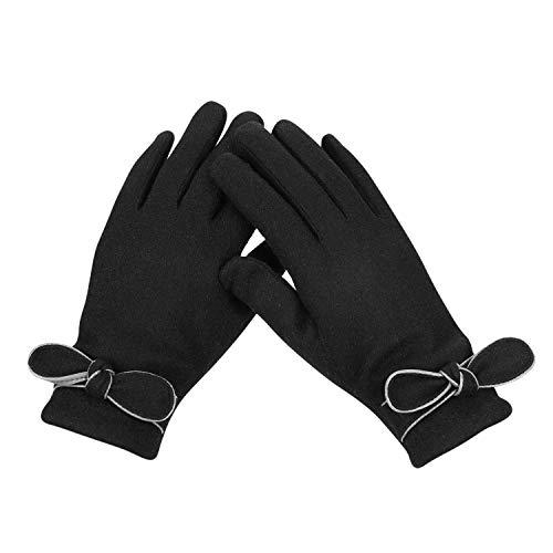 Winterhandschoenen, warm, touchscreen, handschoenen, pluche voering, wollen handschoenen, dames, bowknot, wanten elegant, vingerhandschoen, dikke winter, fietshandschoenen touch smartphone handschoenen