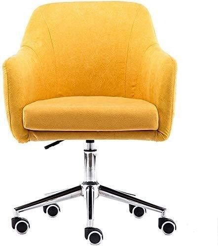 Elegante silla oficina, silla giratoria Silla de salón elegante amarilla | Silla de oficina de tela de muebles con ajuste de altura | Silla giratoria ergonómica con cojín de 12 cm de grosor | Diseño e