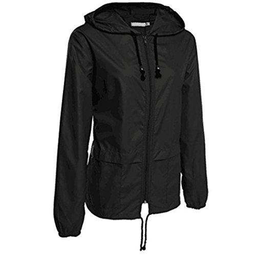 Internet Damen Leichte Regenjacke Outdoor Packable wasserdichte Kapuzen Regenjacke (schwarz, XL)