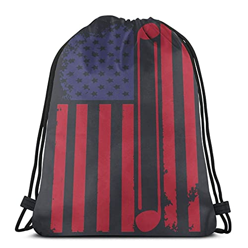 Lmtt Mochila con cordón, deportes, gimnasio, mochila, bolsa de viaje, golf, bandera americana