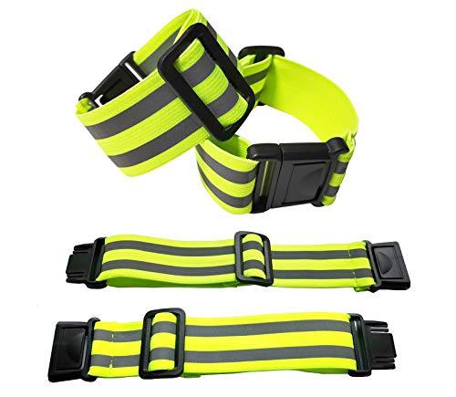 Exporee 4 Piezas Ajustables Brazaletes Reflectantes, Reflector de Alta Visibilidad Seguridad Correr Ciclismo Brazaletes Muñeca Tobillo Pierna Cintura, para Niños y Adultos