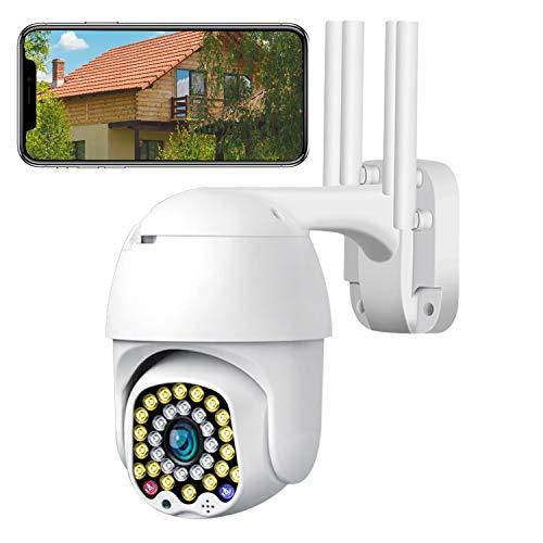 Cámara de Vigilancia WiFi para Detección de Personas Visión Nocturna por Infrarrojos, Detección de Movimiento, IP 65, Resistente al Agua, Interiores y Exteriores