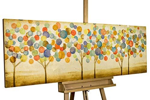 Kunstloft® Cuadro acrílico 'Hojas de otoño 150x50cm | Original Pintura XXL Pintado a Mano en Lienzo | Bosque Abstracto Sobre Beige | Mural acrílico de Arte Moderno en una Pieza con Marco