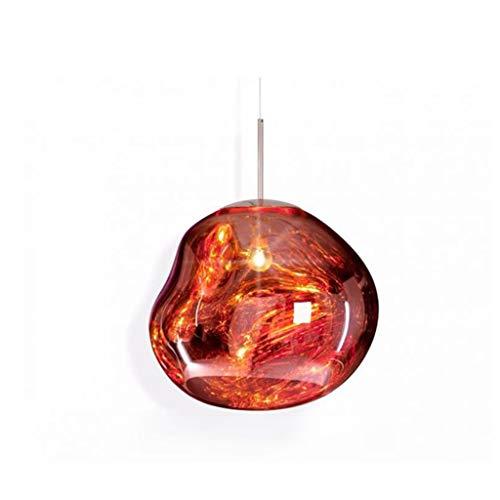 Lámpara colgante Lámpara de techo Lámpara pendiente de la cocina moderna sala de estar cubierta de forma irregular colgante de cristal de la lámpara de luz (Color : Copper)