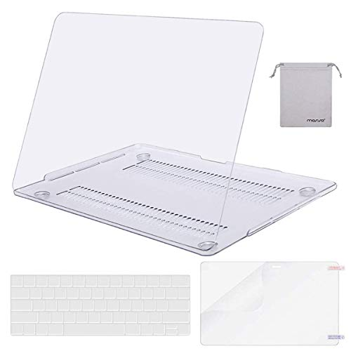 MOSISO MacBook Pro 13 inch Case 2019 2018 2017 2016 Release A2159 A1989 A1706 A1708, Plastic Hard Case&Keyboard Cover&Screen Protector&Storage Bag Compatible with MacBook Pro 13 inch, Crystal Clear